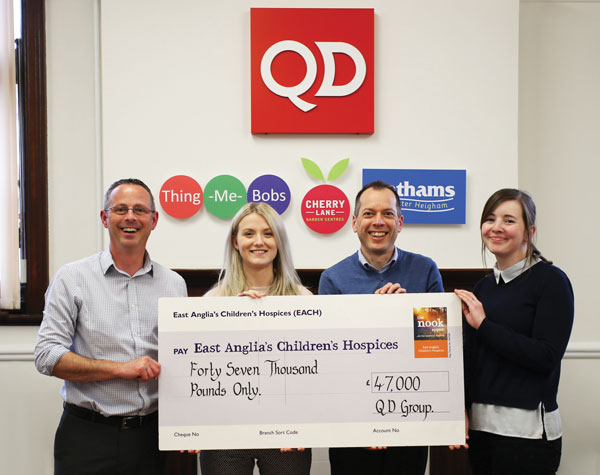 Cheque presentation to EACH Representative Sophie Mayes with Simon Bacon, David George & Tracey Spelman from QD's Norwich Office
