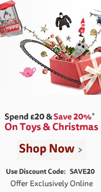Spend £20 & Save 20% on everything in Toys & Christmas online with code SAVE20