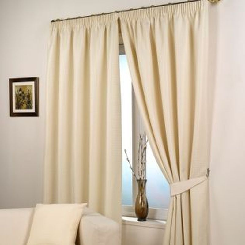 "Waffle Curtains (90"" Width x 90"" Drop) - Natural"