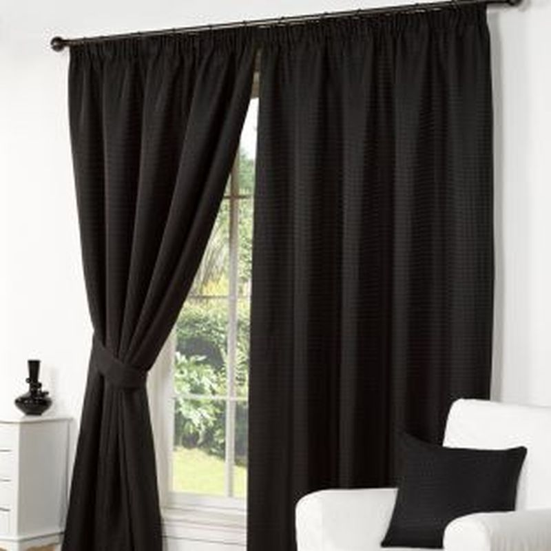 Waffle Curtains 90 Width X 90 Drop Black Buy Online At Qd Stores