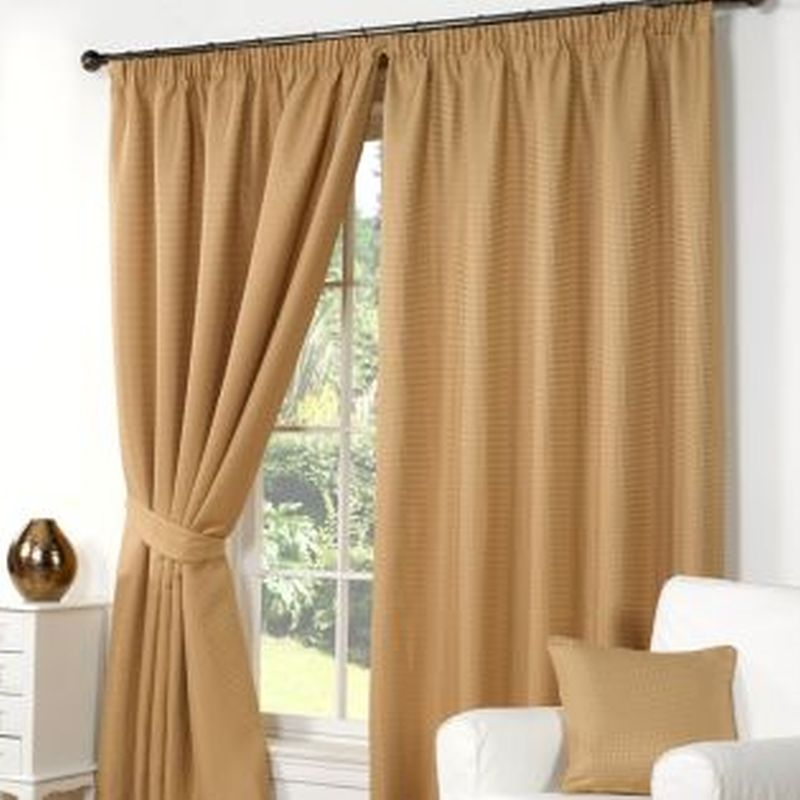 "Waffle Curtains (66"" Width x 90"" Drop) - Gold"