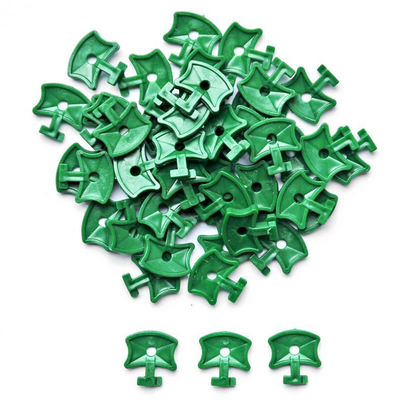 50 Pack Growing Patch Aluminium Greenhouse Plastic Twist Clips Green