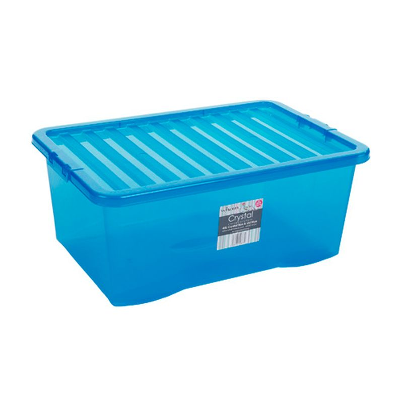 45L Wham Crystal Stacking Plastic Storage Box Blue Clip Lid