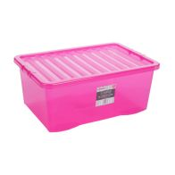 See more information about the 45L Wham Crystal Stacking Plastic Storage Pink Box & Clip Lid
