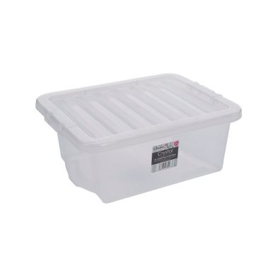 16L Wham Crystal Stacking Clear Storage Box & Clip Lid