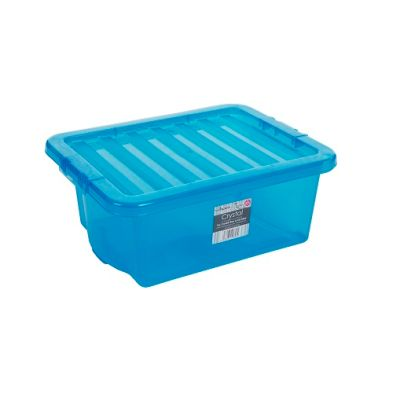 16L Wham Crystal Stacking Plastic Storage Box Blue Clip Lid