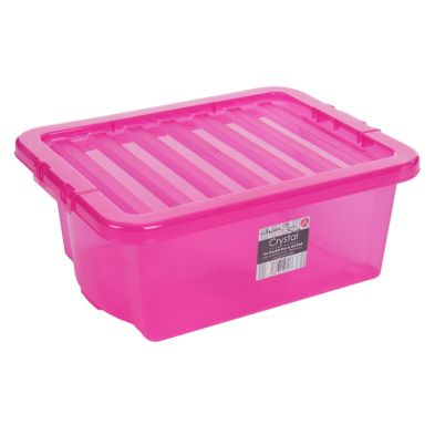 16L Wham Crystal Stacking Plastic Storage Pink Box & Clip Lid
