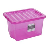 See more information about the 24L Wham Crystal Stacking Plastic Storage Box Pink Clip Lid