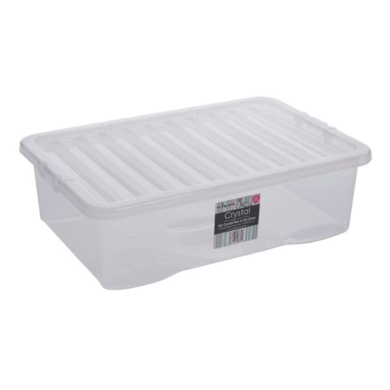 32L Wham Crystal Stacking Plastic Storage Clear Box & Clip Lid