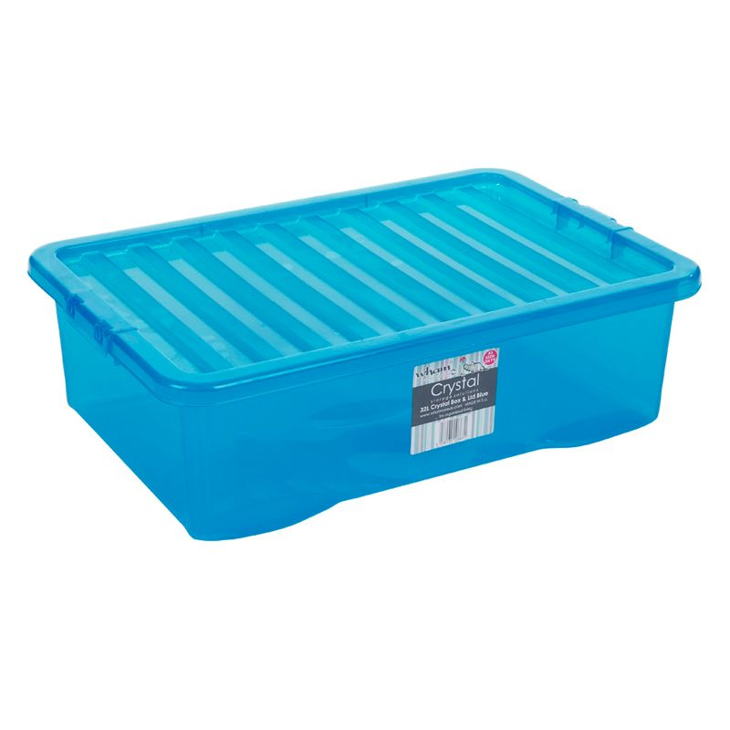 32L Wham Crystal Stacking Plastic Storage Blue Box & Clip Lid