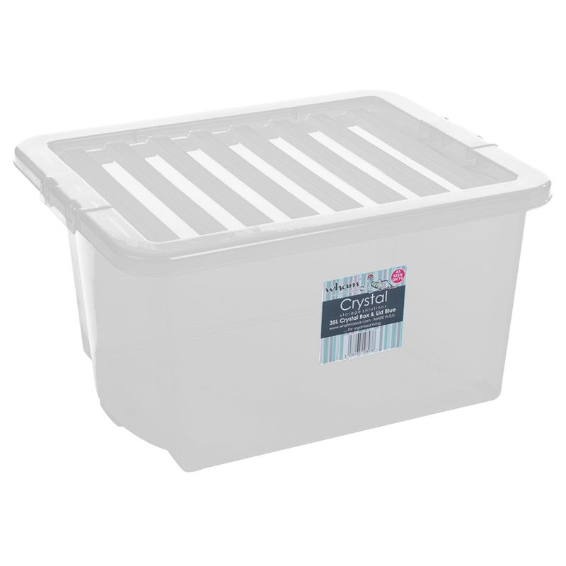 35L Wham Crystal Stacking Plastic Storage Box Clear Clip Lid
