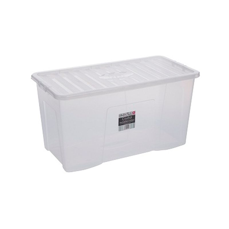 110L Wham Crystal Stacking Storage Clear Box & Clip Lid