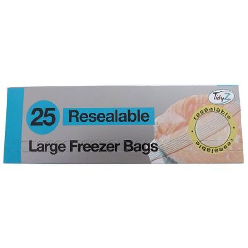 25 Pack Resealable Freezer Bags