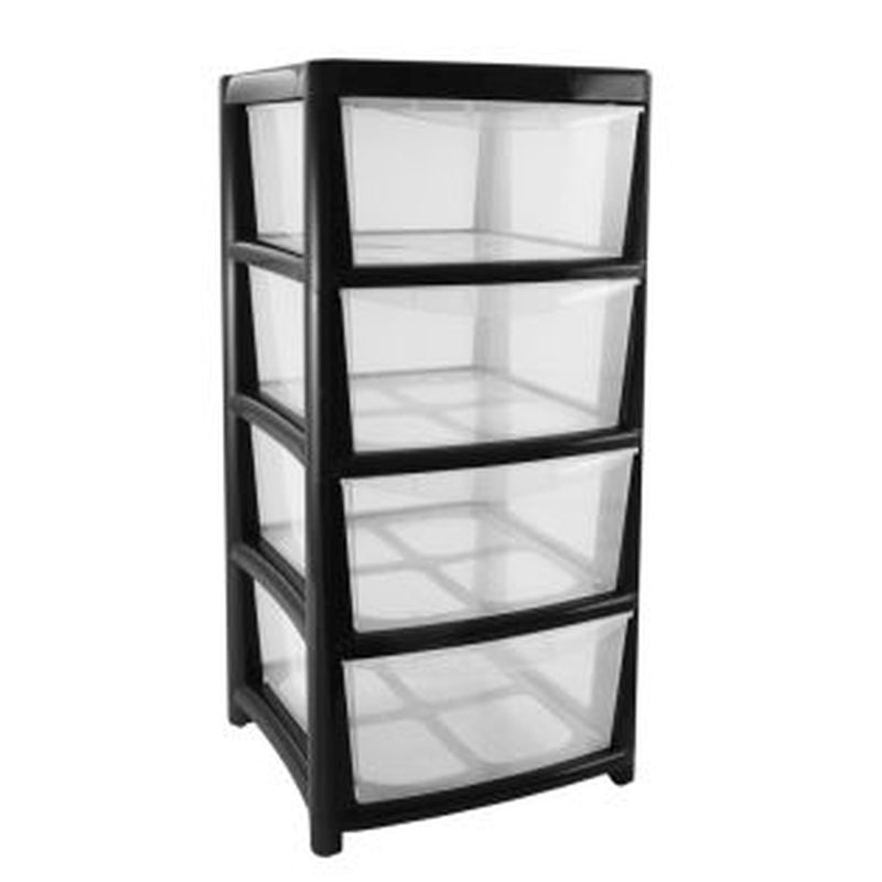Plastic storage tower unit 4 drawer buy online at qd stores for 4 unit