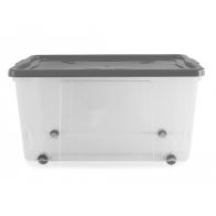 See more information about the 100L Thumbs Up Plastic Wheeled Stacking Storage Clear Box & Silver Lid