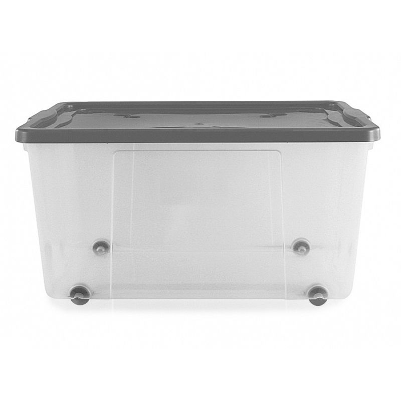 100L Thumbs Up Plastic Wheeled Stacking Storage Clear Box & Silver Lid