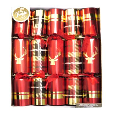 10 Deluxe Crackers - Red Foil