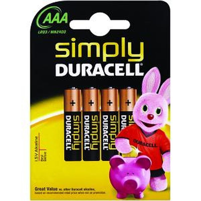 4 Pack of AAA Duracell Batteries