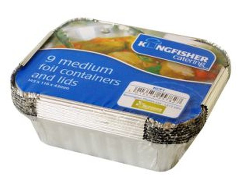 9in Medium Foil Food Containers & Lids