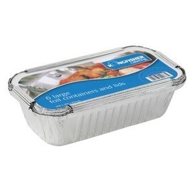 6 Pack Large Foil Food Container & Lids
