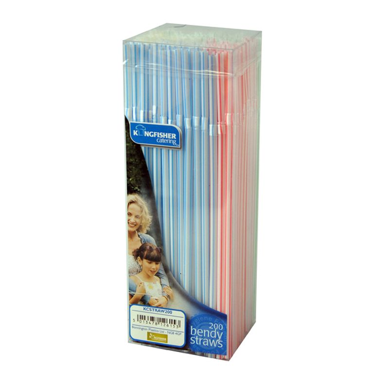 Kingfisher Plastic Bendy Straws 8 inch (Pack of 200)