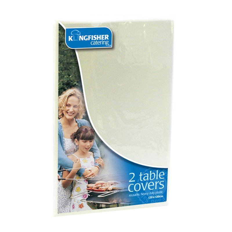 Kingfisher White Plastic Table Covers (Pack 2)