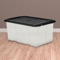 See more information about the 7L TML Stacking Plastic Storage Box Clear & Black Clip Lid