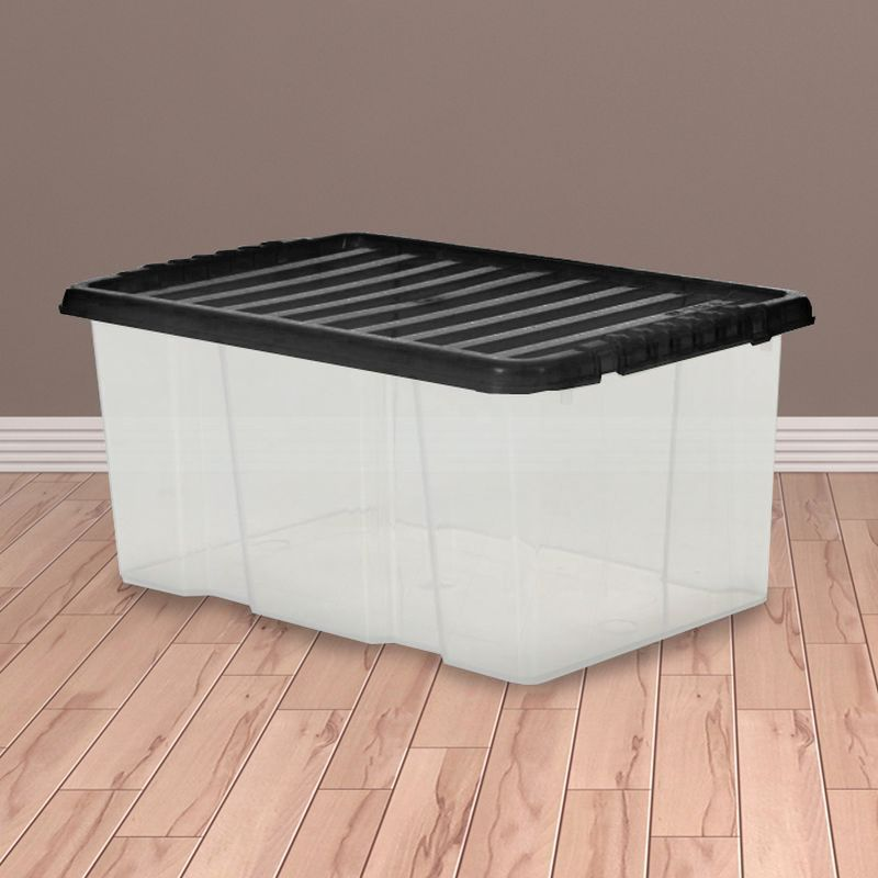 7L TML Stacking Plastic Storage Box Clear & Black Clip Lid