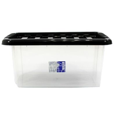 14L TSL Stacking Plastic Storage Box Clear & Black Clip Lid