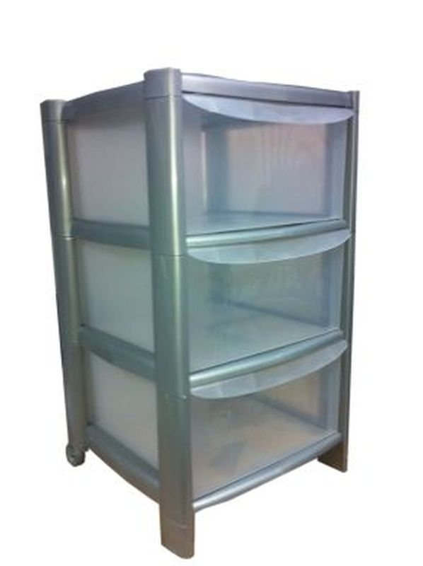 3 Draw Tower Silver Frame/Clear Draws