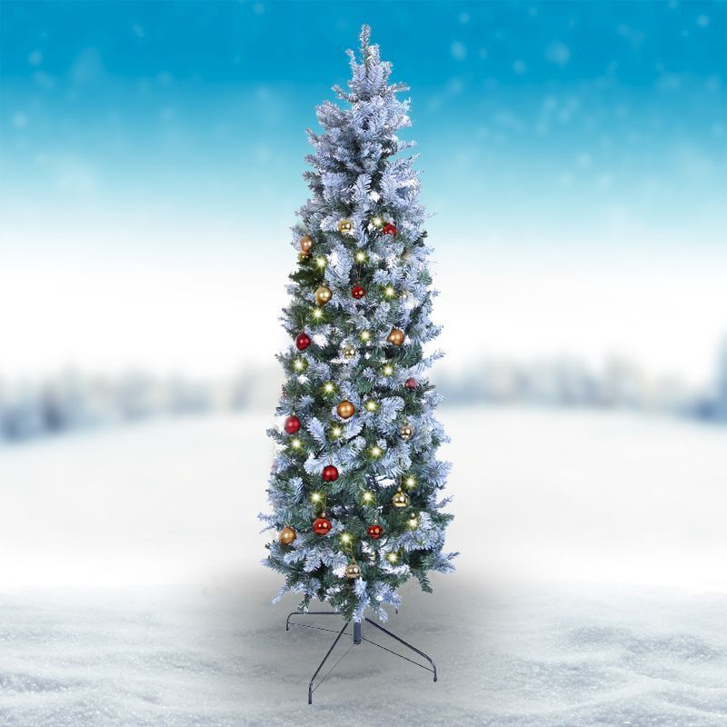 Oncor 210cm (7 Foot) Green Allegheny Slim 679 Tips Snowy Tree