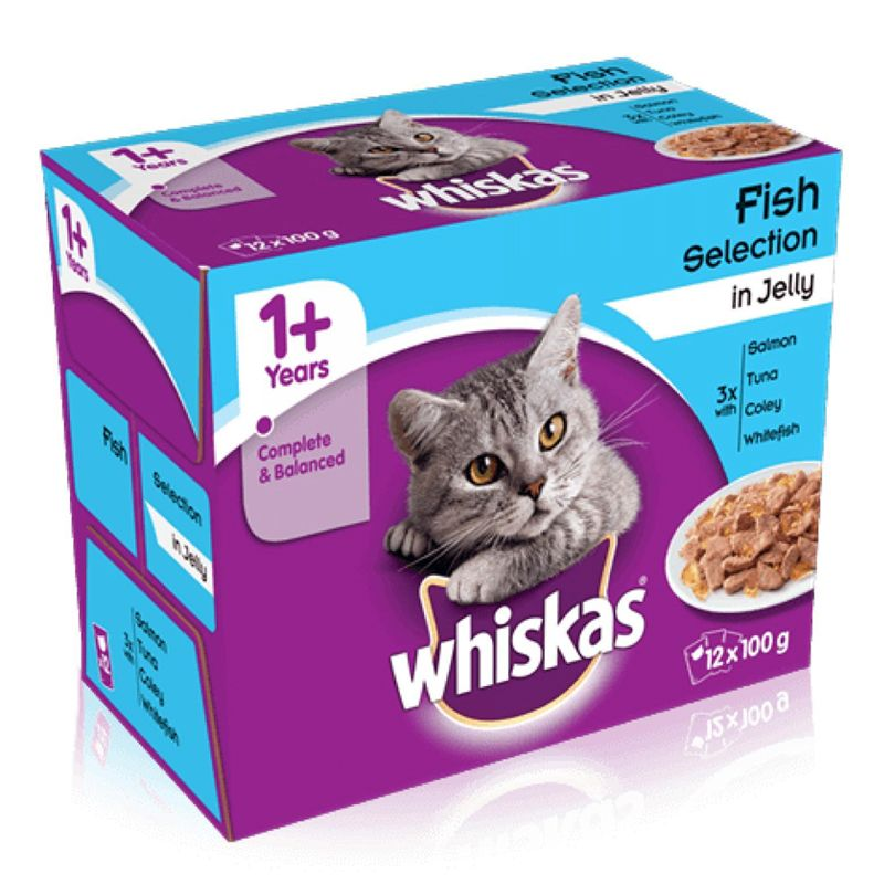 12 x 100g Pouch Whiskas Fish Selection In Jelly