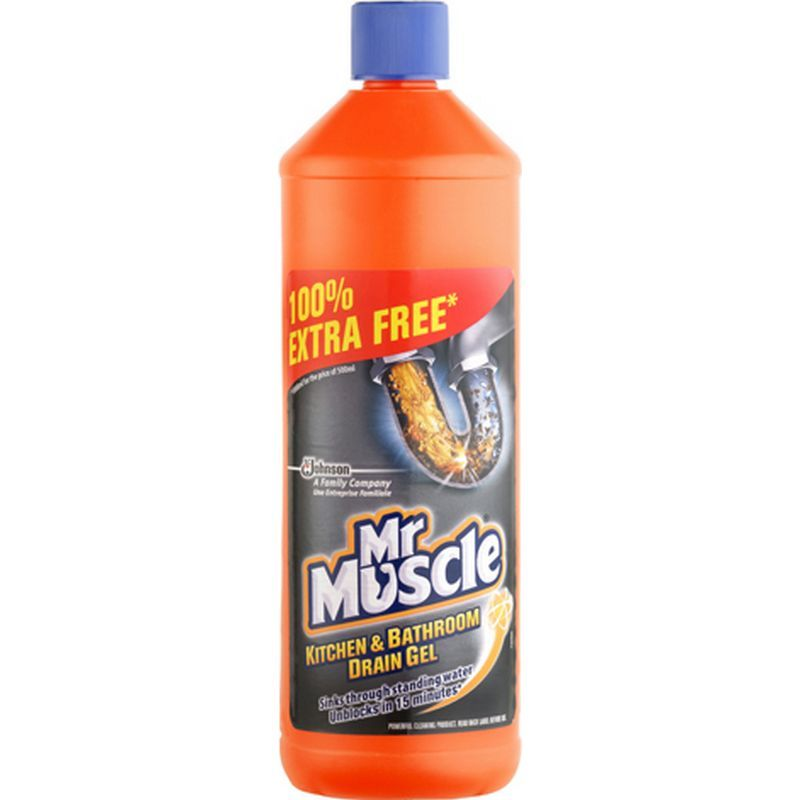Mr muscle kitchen bathroom drain gel 500ml buy online for Mr muscle idraulico gel