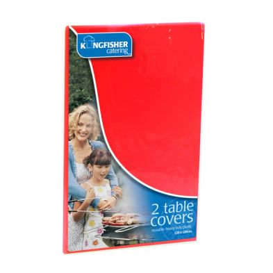 Kingfisher Plastic Tablecloths (Pack 2) - Red