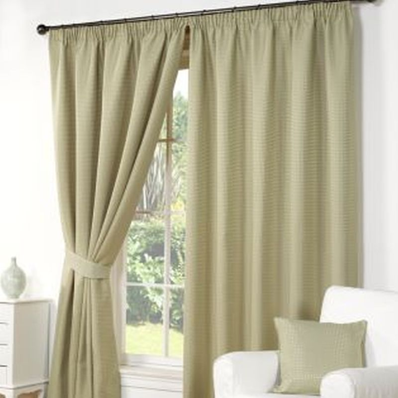 Green Waffle Curtains 66 x 90