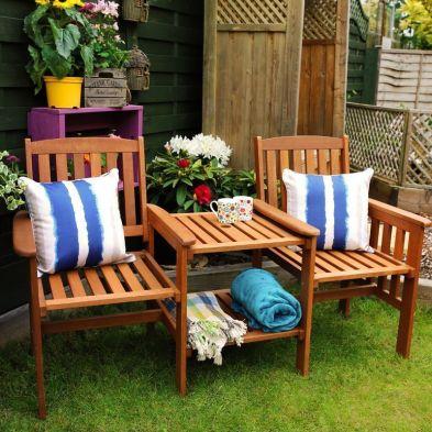 Dalby Hardwood Teteatete Companion Love Seat Garden Bench & Table