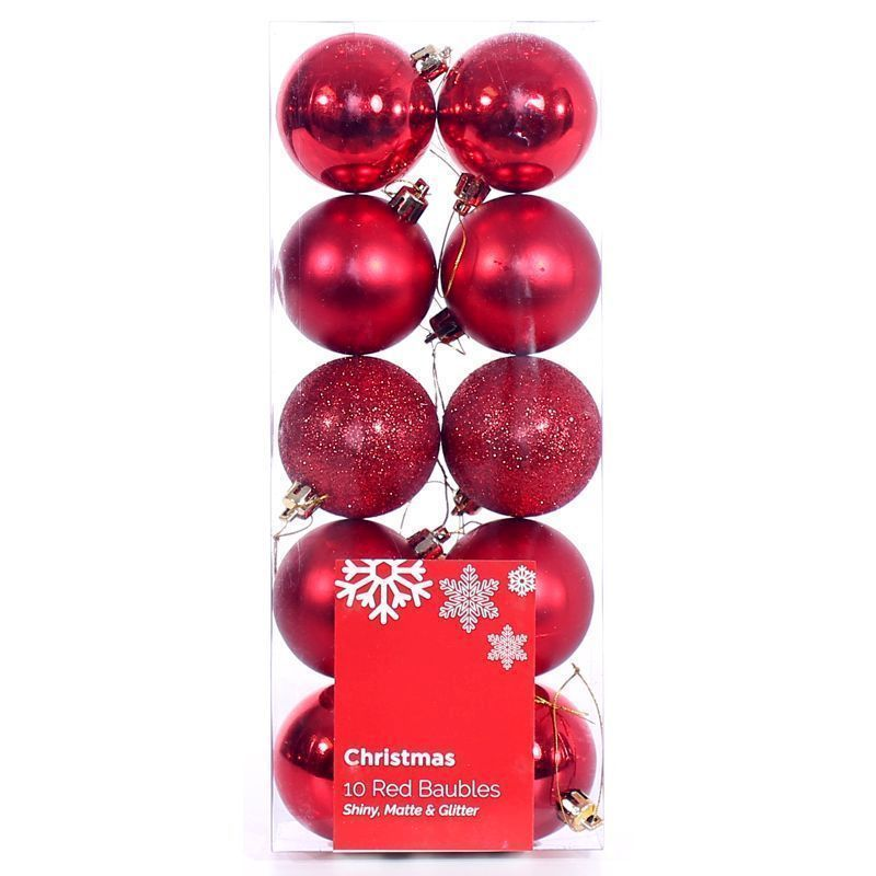 10 Pack of Baubles (6cm) - Red