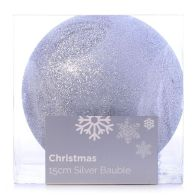 See more information about the Festive Christmas Decoration Silver Plastic Ball - Glitter (15 cm)