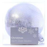 See more information about the Festive Christmas Decoration Silver Plastic Ball - Pattern (15 cm)