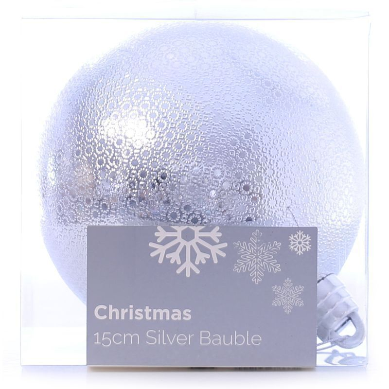 Festive Christmas Decoration Silver Plastic Ball - Pattern (15 cm)