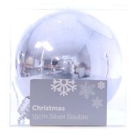 See more information about the Festive Christmas Decoration Silver Plastic Ball - Plain (15 cm)