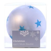 See more information about the Festive Christmas Decoration Silver Plastic Ball - Stars (15 cm)
