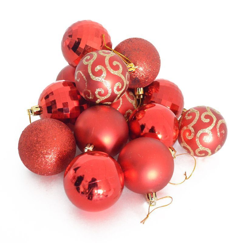 more photos c3fb2 20318 35 Pack Christmas Tree Baubles 6cm Red