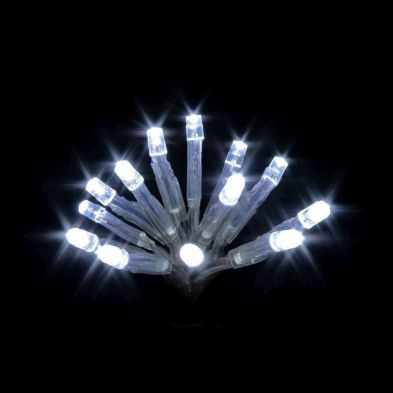 20 LED Ice White Indoor Festive Christmas Fairy Lights Battery 2m