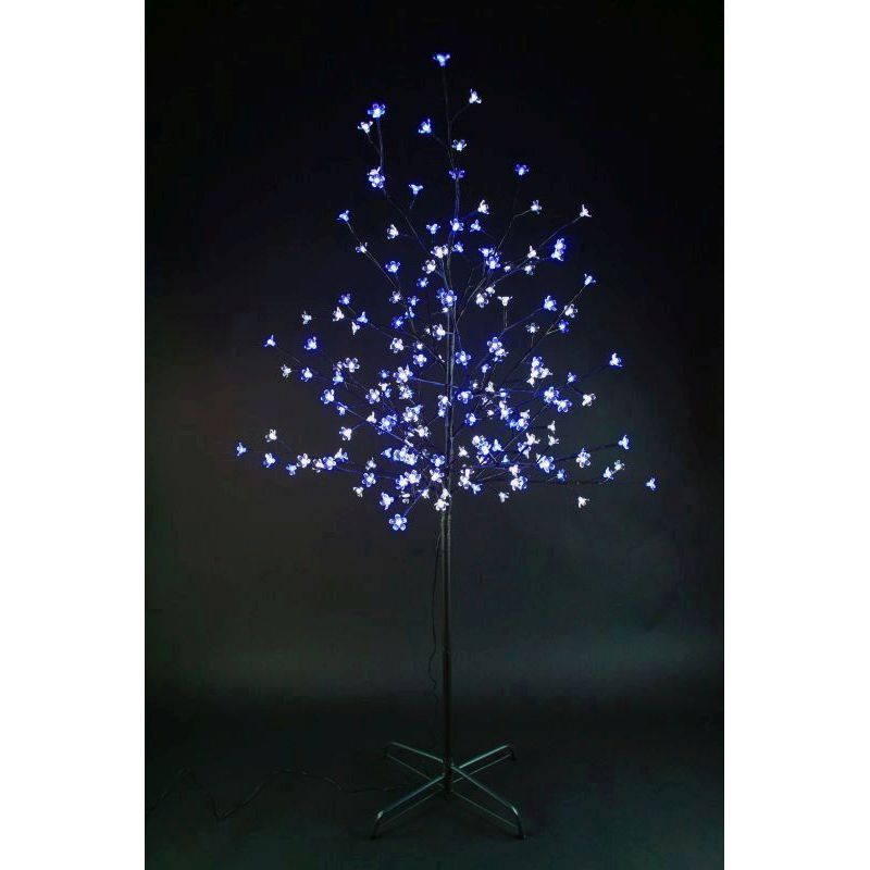 150cm Cherry Tree With 180 White & Blue Bulbs