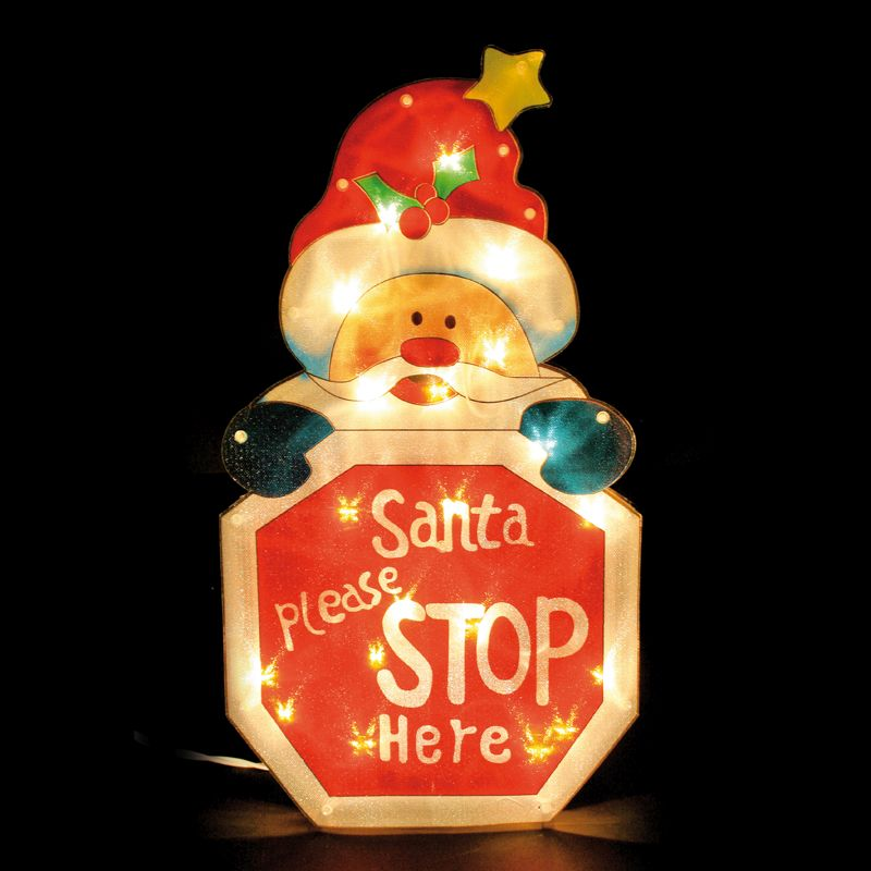 Santa Stop Here Christmas Window Light