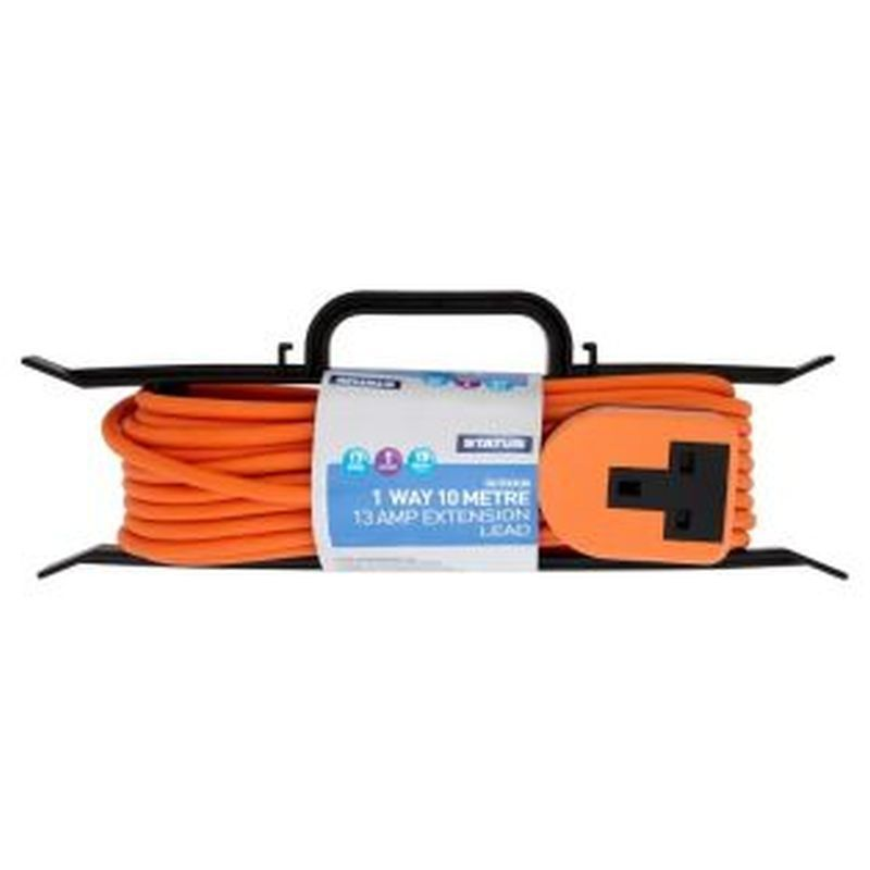 Heavy Duty Extension Socket Orange 1 Way 10Mtr