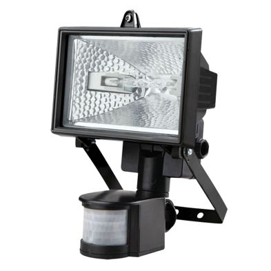 120W Halogen Black Floodlight with Motion Detection