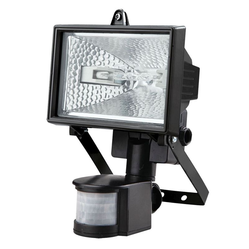 Outdoor Security Lights B Q: 120W Halogen Black Floodlight With Motion Detection