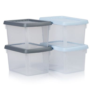 1.5L Pack of 4 Wham Stacking Plastic Storage Clear Box & Assorted Lids